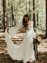onlybridals Lace Wedding Dresses With Deep V-neck Flare Sleeve Split Long Wedding Gowns - onlybridals
