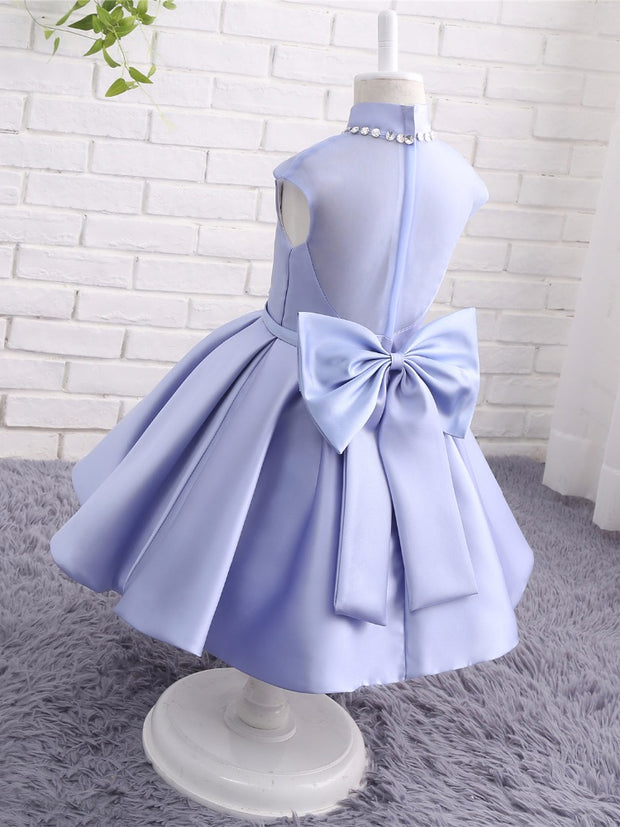 onlybridals Children Images Flower Girl Dresses Satin High Neck Beaded Bow Back Pageant Ball Gown Wedding Party Gown Prom Dress Kids - onlybridals