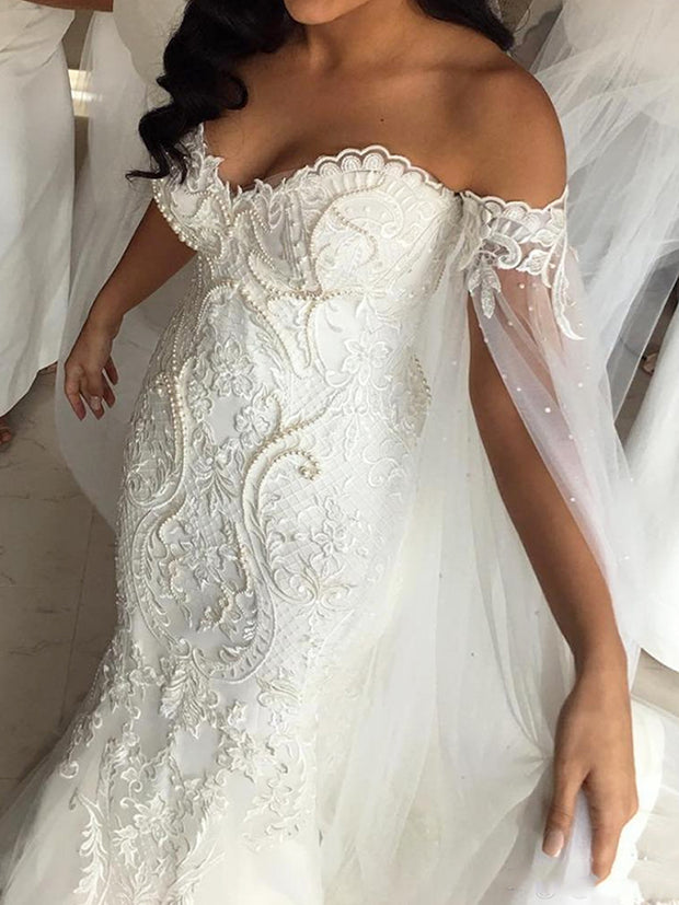 onlybridals Lace Mermaid Wedding Dress Shoulder Bride Dresses With Crystal Back Wedding Bridal Gowns - onlybridals