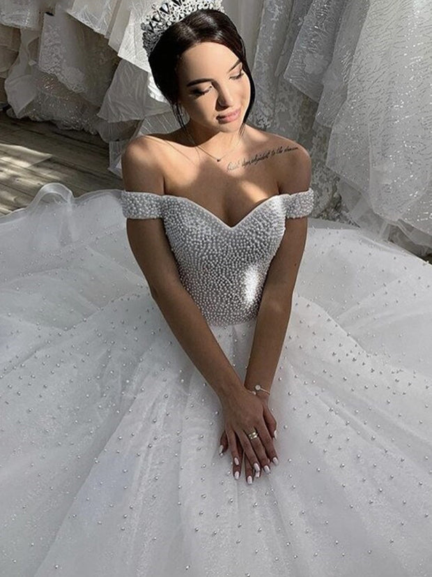 onlybridals Wedding Dresses Sexy Sweetheart Off The Shoulder Court Train Pearl Tulle Wedding Dresses - onlybridals