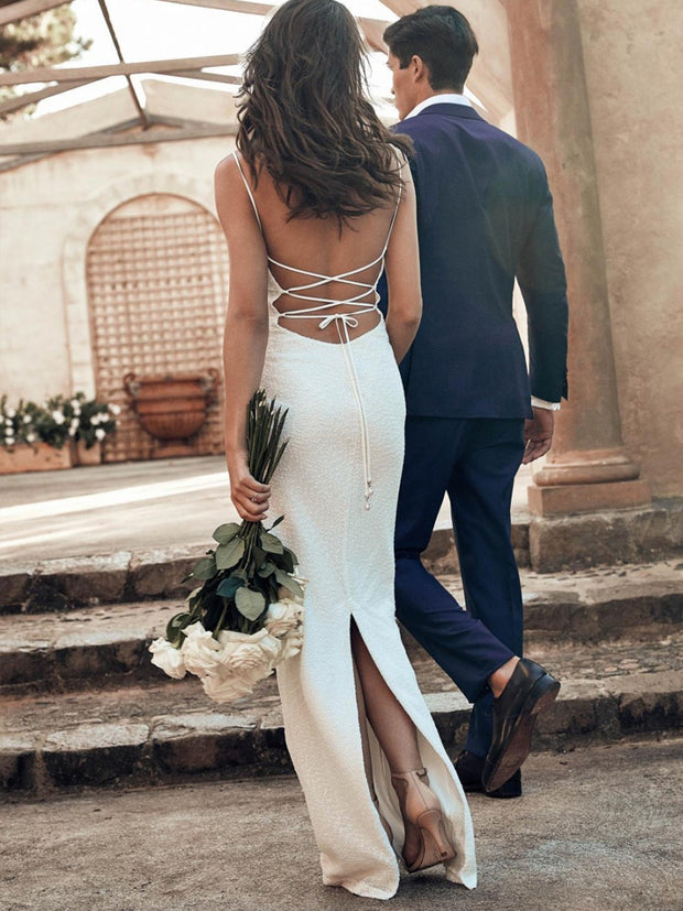 onlybridals Sexy Spaghetti Straps Backless Mermaid Bridal Gowns Lace Luxury Wedding Dress - onlybridals