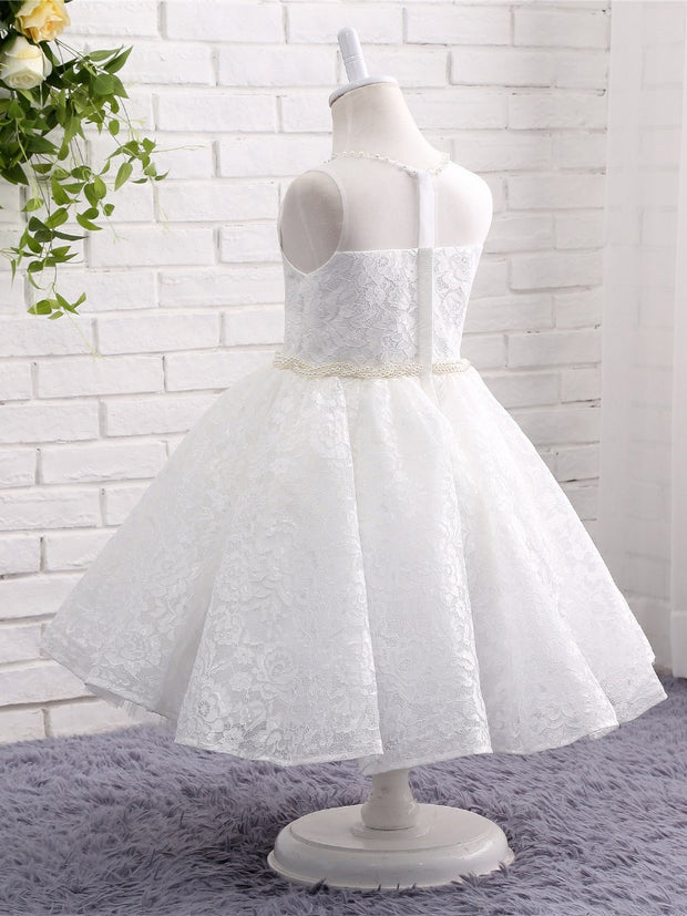 onlybridals Lace Flower Girl Dresses for Wedding Sheer Neck Pearls First Communion Dresses Floor Length Prom Dress Kids Party Dresses - onlybridals