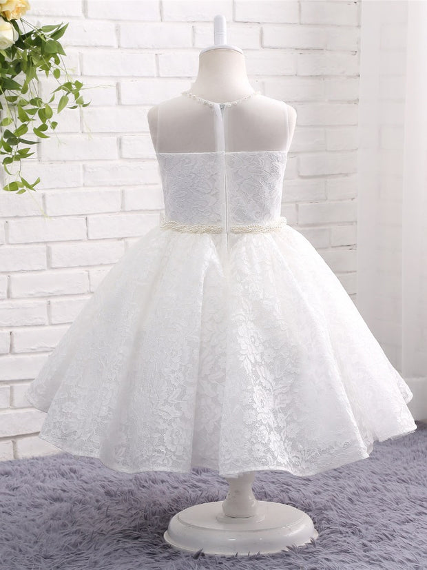 onlybridals Lace Flower Girl Dresses for Wedding Sheer Neck Pearls First Communion Dresses Floor Length Prom Dress Kids Party Dresses - The Only Love Wedding Dress
