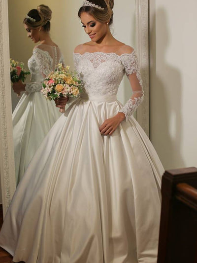 onlybridals Ball Gown Long Sleeve Lace Applique Bridal gowns Button Back robe de soiree Satin Princess Wedding Dress