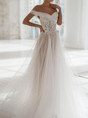 onlybridals Boho A Line Lace Wedding Dresses Off The Shoulder Lace Bride Dresses - onlybridals