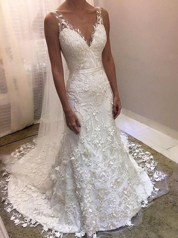onlybridals Elegant Appliqued Lace Wedding Dress Mermaid V-neck Cheap Wedding Gown - onlybridals
