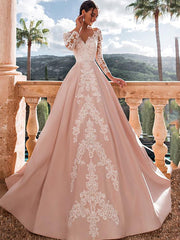 onlybridals Satin V-Neck A-Line Wedding Dresses With Lace Appliques Long Sleeves elegant wedding Gowns