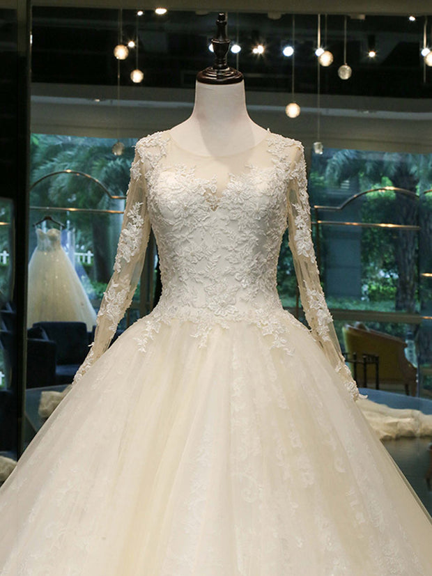 onlybridals Long Sleeve Wedding Dresses Tulle Lace Bride Dresses Wedding Gowns Vintage Wedding Dress - onlybridals