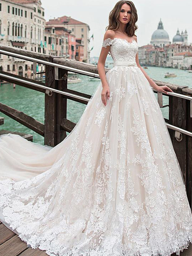 onlybridals Tulle A-line Wedding Dresses Off The Shoulder Lace Appliques Princess Boho Wedding Gowns
