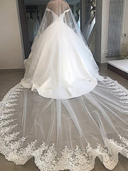onlybridals Backless Lace Ball Gown Wedding Gowns V Neck Satin Long Train Bridal Dress Off Shoulder - onlybridals