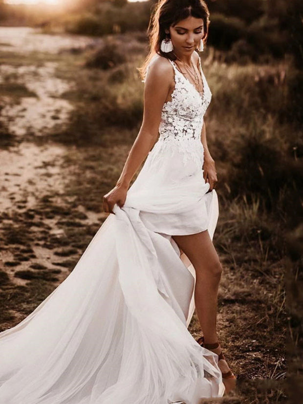 onlybridals Spaghetti Strap Appliqued Lace Beach Wedding Gown Sexy Backless Bride Dresses - onlybridals