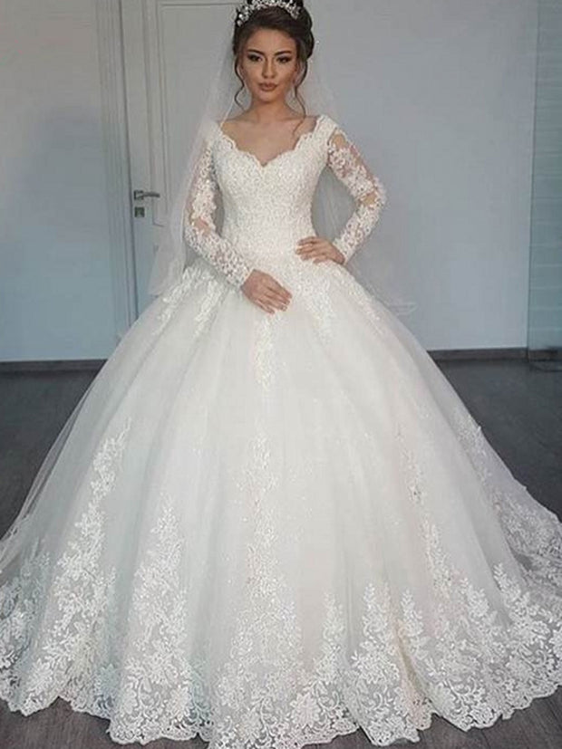 onlybridals  V-neck Elegant Ball Gowns Long Sleeves Princess Wedding Dresses Lace Appliques robe mariage - onlybridals