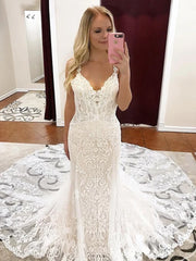 onlybridals Sexy Mermaid V-Neck Spaghetti Straps Lace Custom Long Wedding Dresses Online - onlybridals