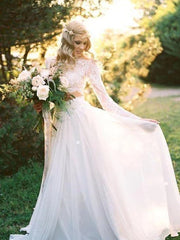 onlybridals A-Line Round Neck Long Sleeves Two Pieces Chiffon Long Wedding Dresses With Lace - onlybridals