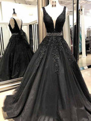 onlybridals Black Long Prom Dresses with Beading V-Neck Ball Gown Appliques Lace  Evening Dress Gown - onlybridals