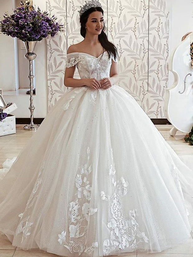 onlybridals Custom Made Ball Gown Wedding Dresses Princess Lace Applique Bridal Gowns