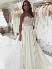 onlybridals Sexy Backless Wedding Dresses Sweetheart Sleeveless Lace Appliqued simple Satin A Line Bridal Dress - onlybridals