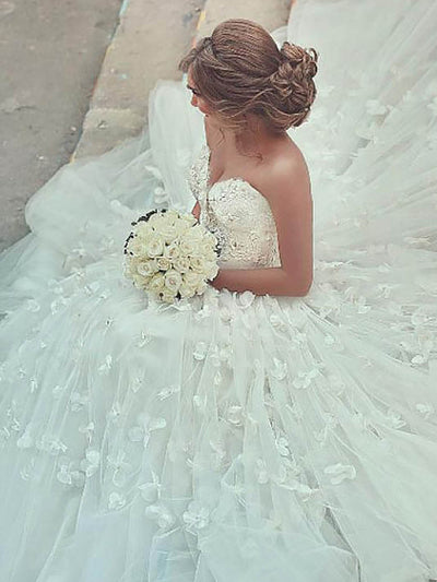 onlybridals Lace Appliqued With 3D Flowers Turkey Boho Wedding Dress Ball Gown