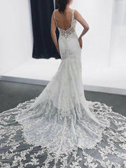 onlybridals V Neck Backless Lace Applique Beading  Bridal Gown Long Mermaid Wedding Dress - onlybridals