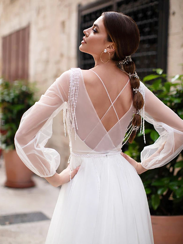 onlybridals  Lace Appliques New Design Vestidos Sleeves Bridal Dress floor Length Wedding Gowns - onlybridals