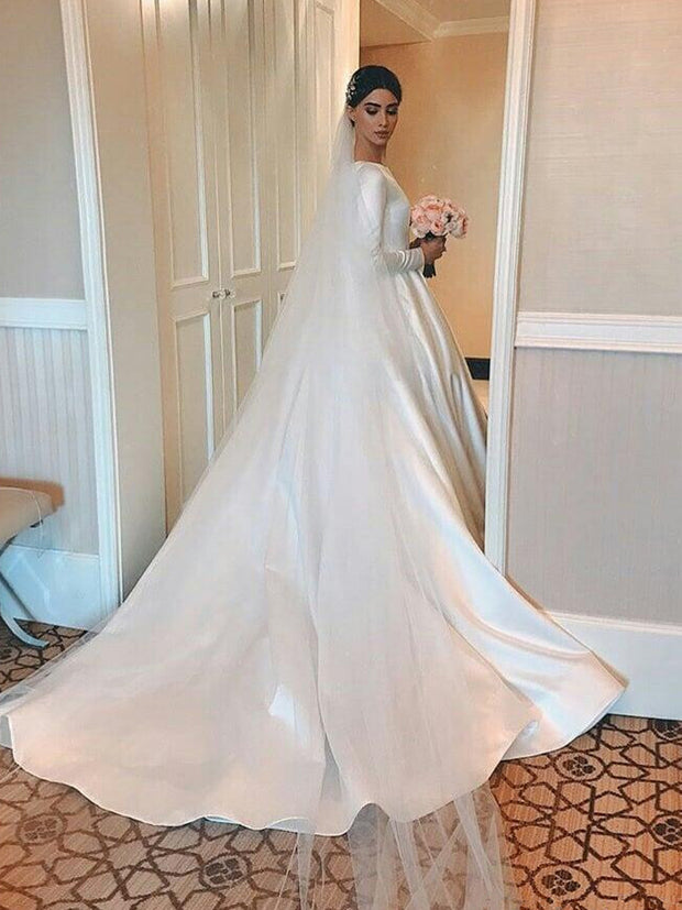 Elegant simple satin Wedding Dresses A Line Scoop Neck court Train Long Sleeve Beach Wedding Dress Custom Made Brial Gowns - onlybridals