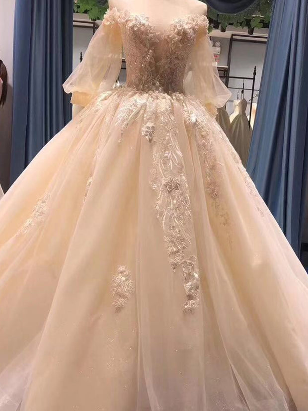 onlybridals A-Line  Wedding Dresses  Sleeves Appliqued Tulle Long Wedding Dresses With Pearls - onlybridals