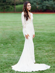 onlybridals  Boho Mermaid Wedding Dresses Sexy Backless Long Sleeve Lace Wedding Dress - onlybridals