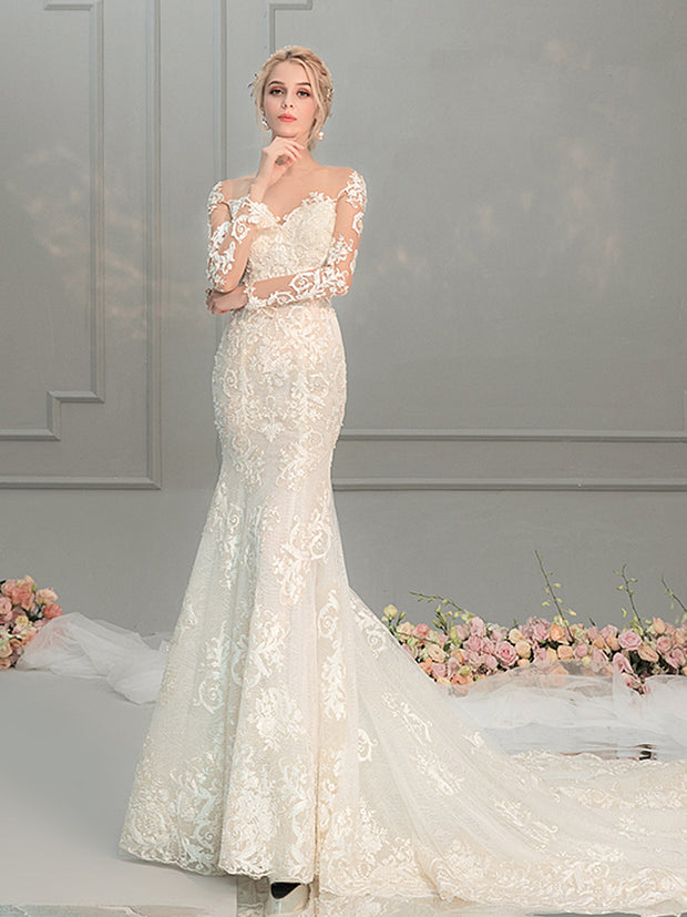 onlybridals Lace Wedding Dress Long Sleeve Mermaid Wedding Gowns Bride Dress - onlybridals