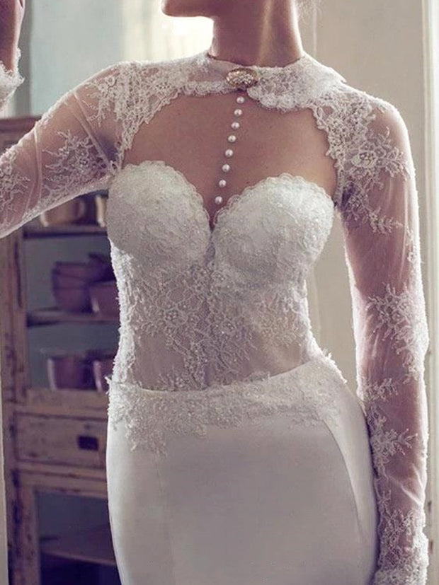 onlybridals Sexy Backless Mermaid Wedding Dresses With Long Sleeve Beading Lace Wedding Gowns - onlybridals