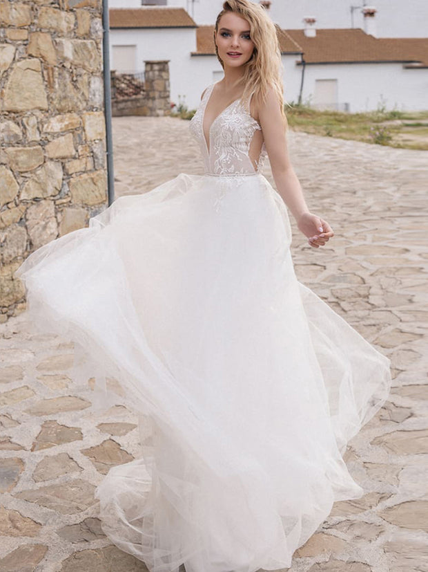 onlybridals Sexy V-neck Wedding Dresses Sleeveless Open Back Applique Tulle Bridal Gowns Beach Wedding Dress - onlybridals