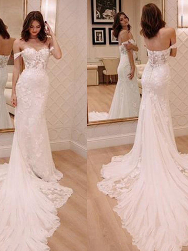 onlybridals Lace Mermaid Bride Dresses Off The Shoulder Hot Sale Wedding Bridal Gowns - onlybridals