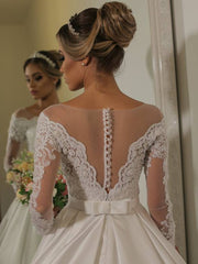onlybridals Ball Gown Long Sleeve Lace Applique Bridal gowns Button Back robe de soiree Satin Princess Wedding Dress - onlybridals