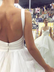 onlybridals Tulle Wedding Dress Backless V Neck Bridal Dress Empire Princess Wedding Gowns - onlybridals