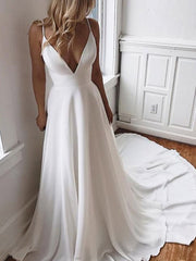 onlybridals Sexy V-neck Spaghetti Straps Chiffon Wedding Dress Beach A-line Bridal Gown robe mariage Custom Made - onlybridals