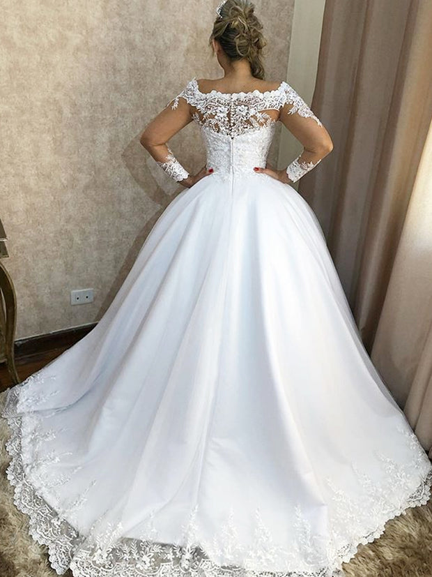 onlybridals A Line Vintage Lace Applique Wedding Dresses Boat Neck Long Sleeve wedding Gowns - onlybridals