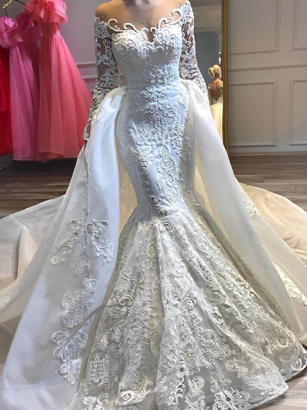 onlybridals White Mermaid Wedding Dresses With Neck Long Sleeve Lace Beaded Bling Long Train Bridal Gown - onlybridals