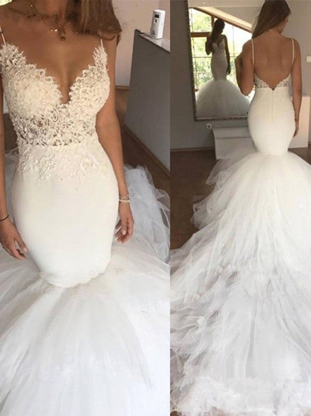 onlybridals Sexy Backless Vintage Lace Mermaid Wedding Dress V-Neck Appliques White Tulle Bride Dresses - onlybridals
