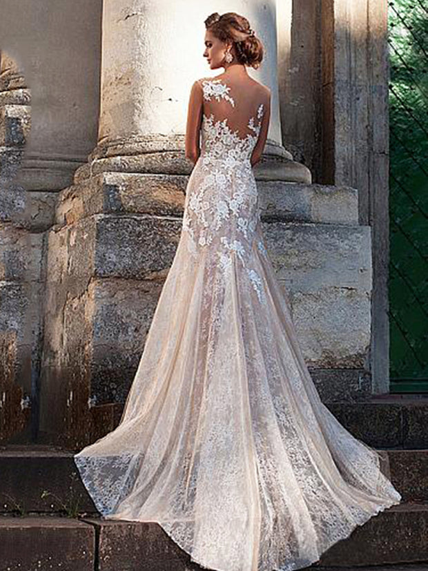 onlybridals Lace Bridal Dress V Neck Strapless Mermaid Wedding Dress  Backless Tull Bride Dresses - onlybridals