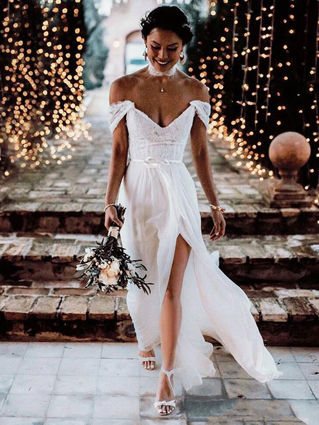 onlybridals Boho Lace Tulle Wedding Dresses Cap Sleeves V-Neck Sexy Backless Beach Bridal Gowns - onlybridals