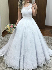 onlybridals Lace Cap Sleeves Ball Gown Wedding Dresses Applique Elegant Bridal Gowns