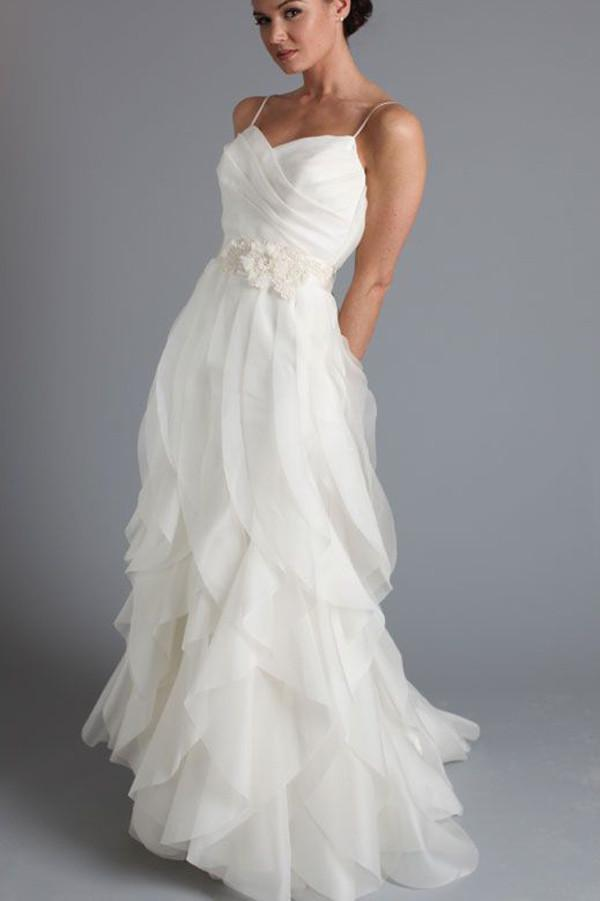 Spaghetti Straps Ruffled Tulle Simple Floor Length Wedding Dresses, MW260 - onlybridals