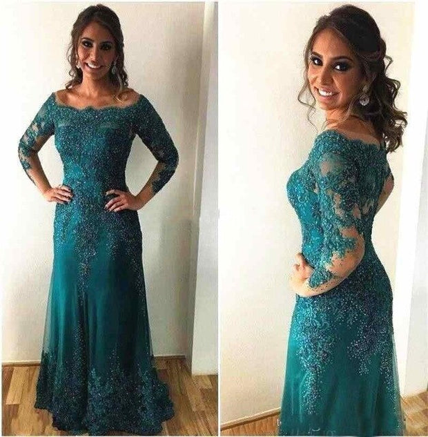 onlybridals New Hunter Green Long Sleeve Lace Mother of The Bride Dresses 2019 Appliques Groom Godmother Evening Dresses For Wedding