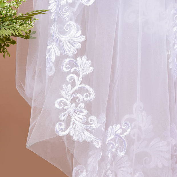 onlybridals 3m One Layer Wedding Veil With Comb White Lace Edge Bridal Veils Ivory Appliqued Cathedral Wedding Veil - The Only Love Wedding Dress