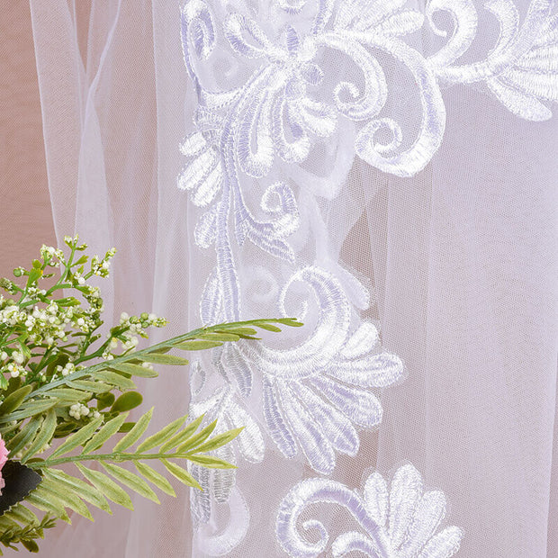 onlybridals 3m One Layer Wedding Veil With Comb White Lace Edge Bridal Veils Ivory Appliqued Cathedral Wedding Veil - onlybridals