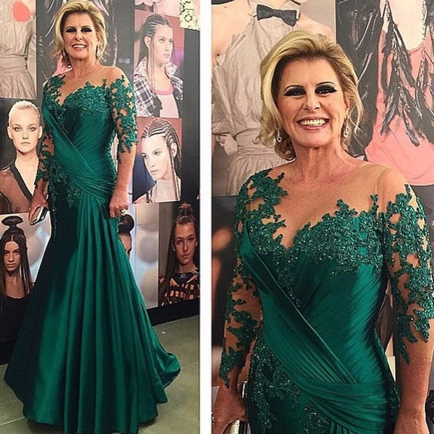 onlybridals Long Sleeve Green Beaded Lace Mother of Bride Evening Dresses For Wedding 2019 Satin Ruched Mermaid Groom Godmother Dresses - onlybridals