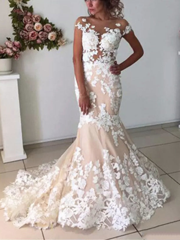 onlybridals Sleeveless Sweetheart Spaghetti Straps Long Mermaid Ivory Lace Backless Wedding Dresses - onlybridals