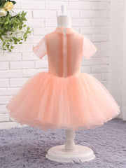 onlybridals Pink Flower Girl Dresses for Wedding High Neck with Short Sleeves Pageant Ball Gown First Communion Dresses Prom Dress Kids - onlybridals