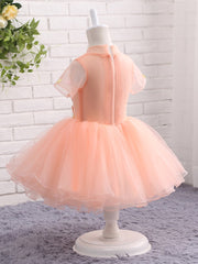 onlybridals Pink Flower Girl Dresses for Wedding High Neck with Short Sleeves Pageant Ball Gown First Communion Dresses Prom Dress Kids