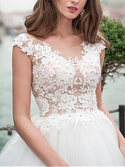 onlybridals Ball Gown Wedding Dress With Beaded Lace Appliques White Ivory Tulle Wedding Dresses - onlybridals