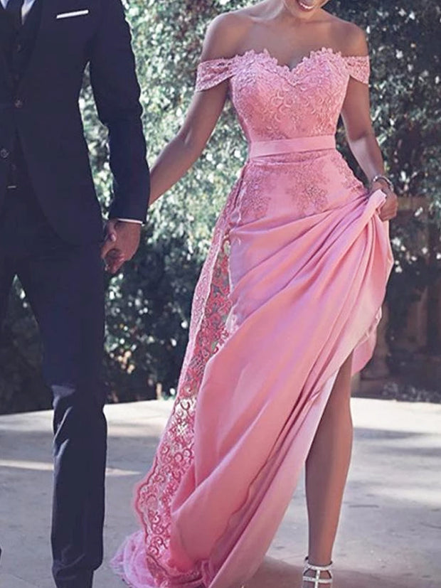 onlybridals Pink Satin Off Shoulder Cap Sleeves Long Prom Dresses With Appliques